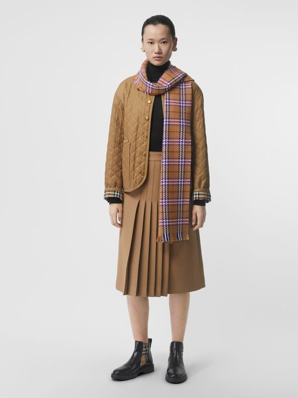 Check Merino Wool Scarf in Antique Yellow | Burberry - cell image 2
