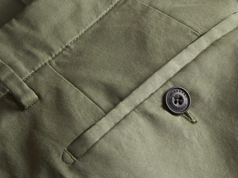 Slim Fit Stretch Cotton Trousers Khaki Green - cell image 1