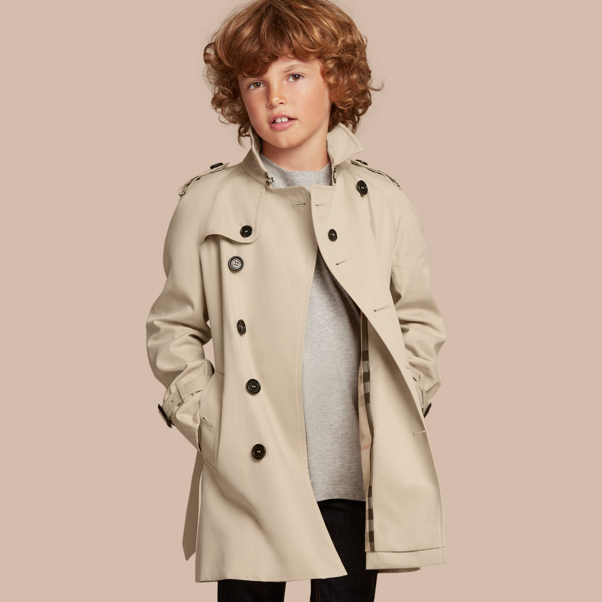 The Wiltshire – Heritage Trench Coat in Stone - Boy | Burberry - gallery image 1