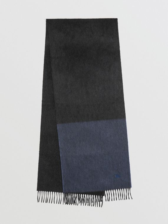 Colour Block Cashmere Scarf in Storm Blue