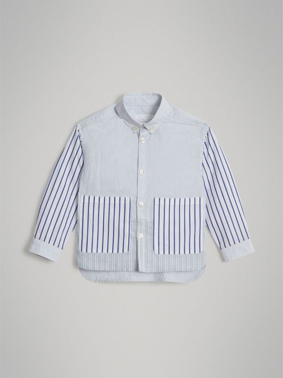 Contrast Stripe Cotton Shirt in Light Blue