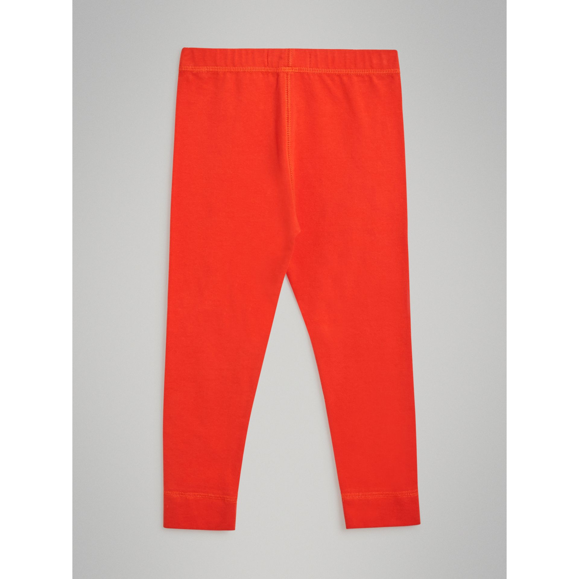 Logo Detail Stretch Cotton Leggings in Orange Red | Burberry - gallery image 3