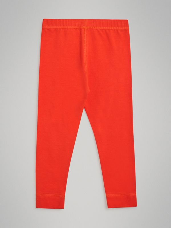 Logo Detail Stretch Cotton Leggings in Orange Red | Burberry - cell image 3