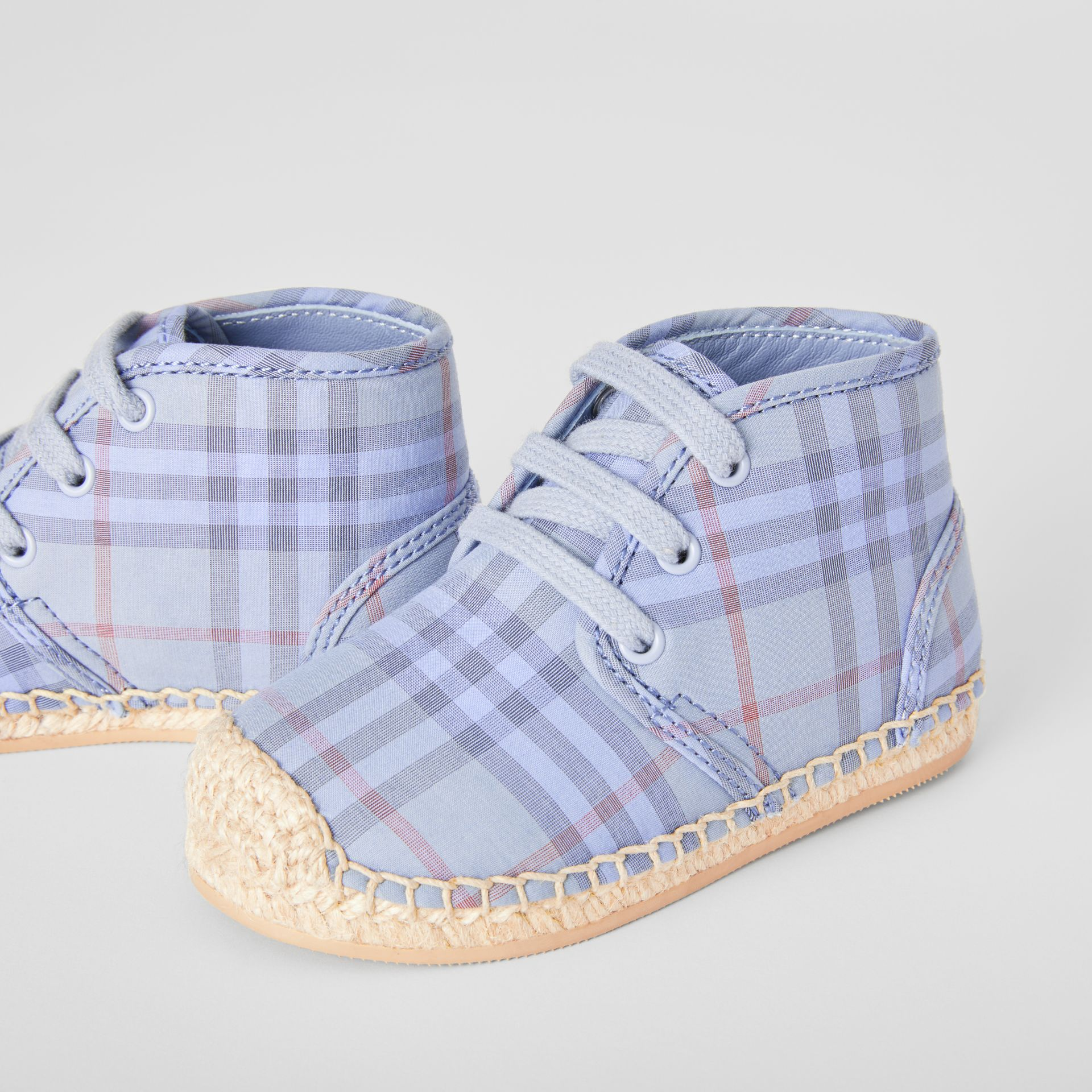 Check Espadrille Booties in Dusty Blue - Children | Burberry United Kingdom - gallery image 1