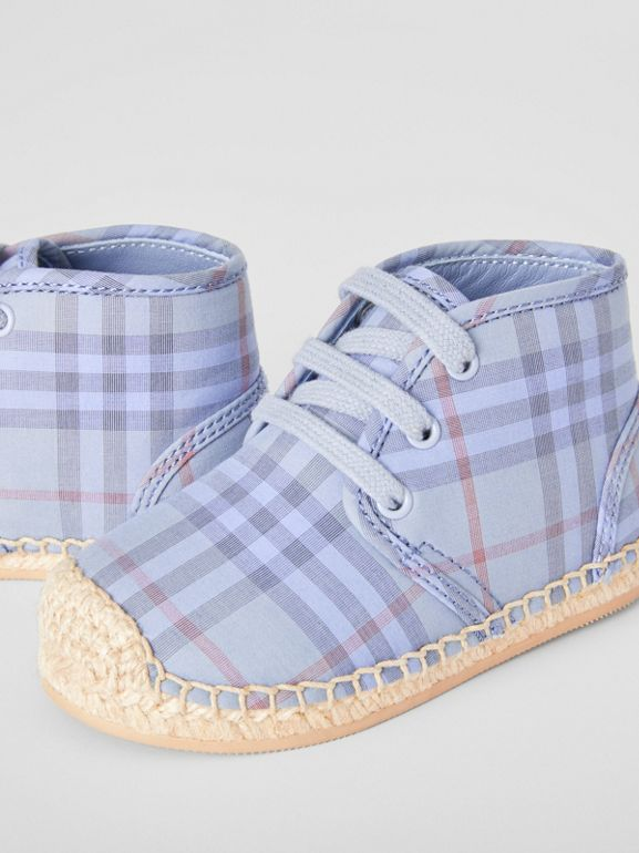 Check Espadrille Booties in Dusty Blue - Children | Burberry United Kingdom - cell image 1