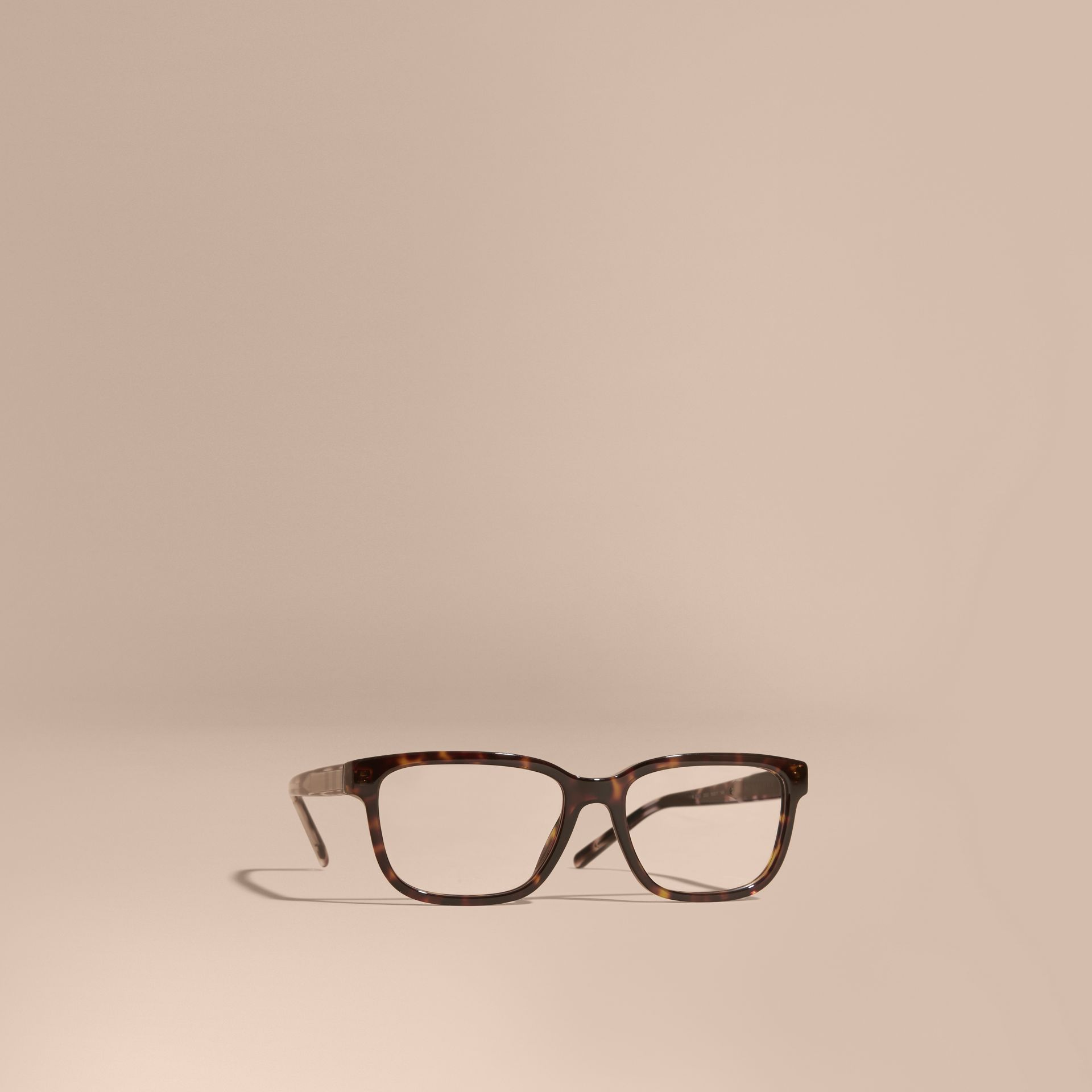 Light russet brown Check Detail Rectangular Optical Frames Light Russet Brown - gallery image 1