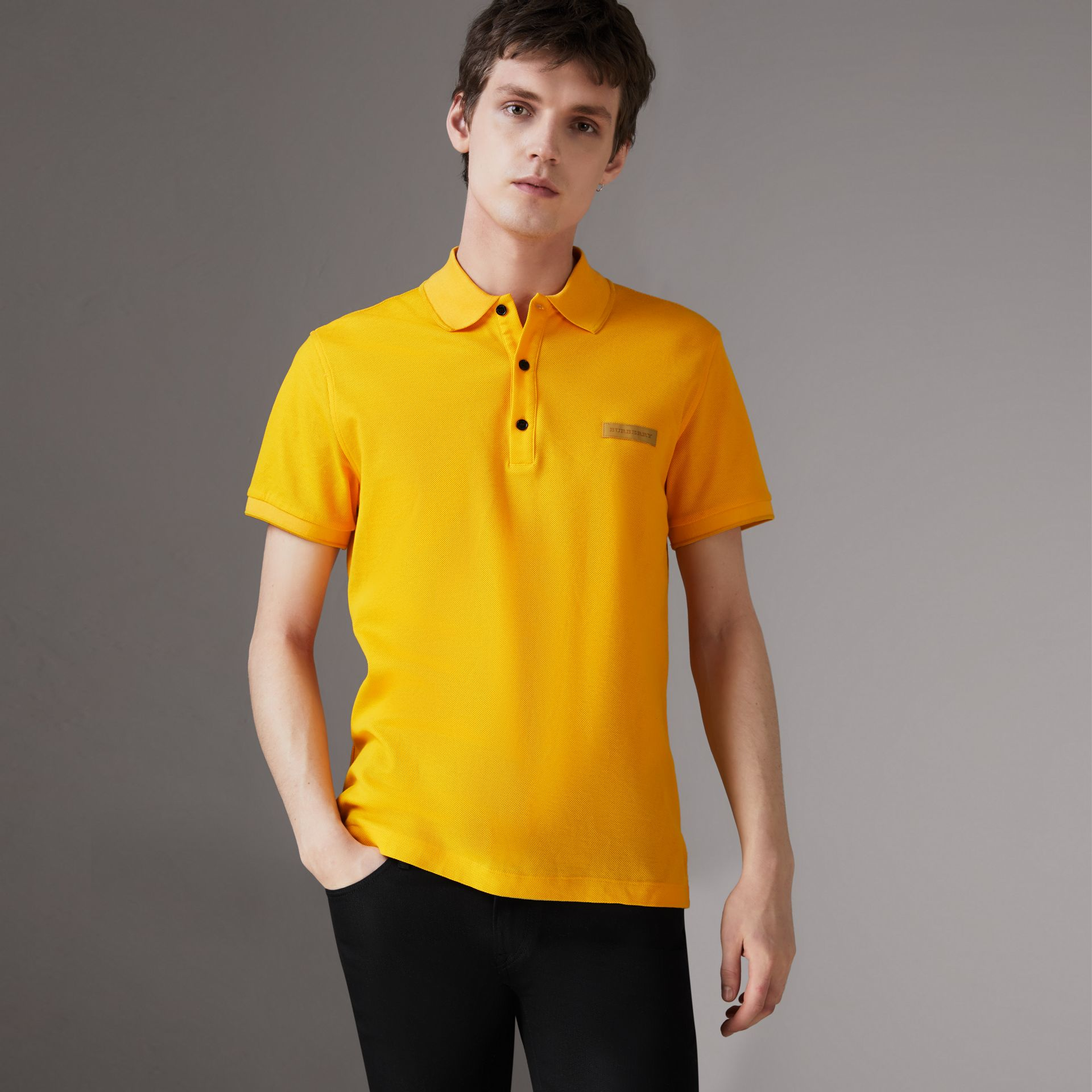 Cotton Piqué Polo Shirt in Bright Yellow - Men | Burberry Australia - gallery image 0