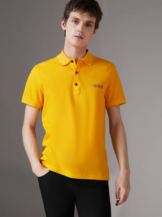 Cotton Piqué Polo Shirt in Bright Yellow