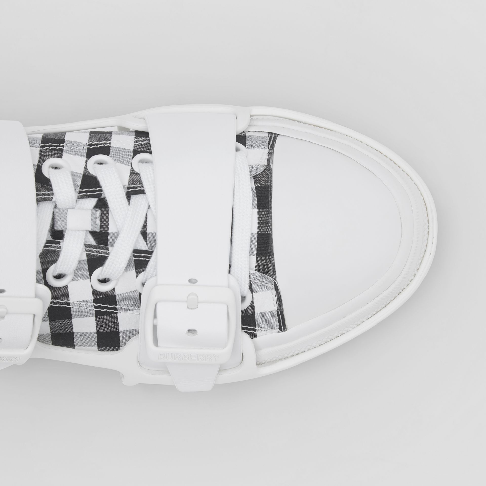 Gingham Cotton and Leather Webb Sneakers in White/black | Burberry United Kingdom - gallery image 1