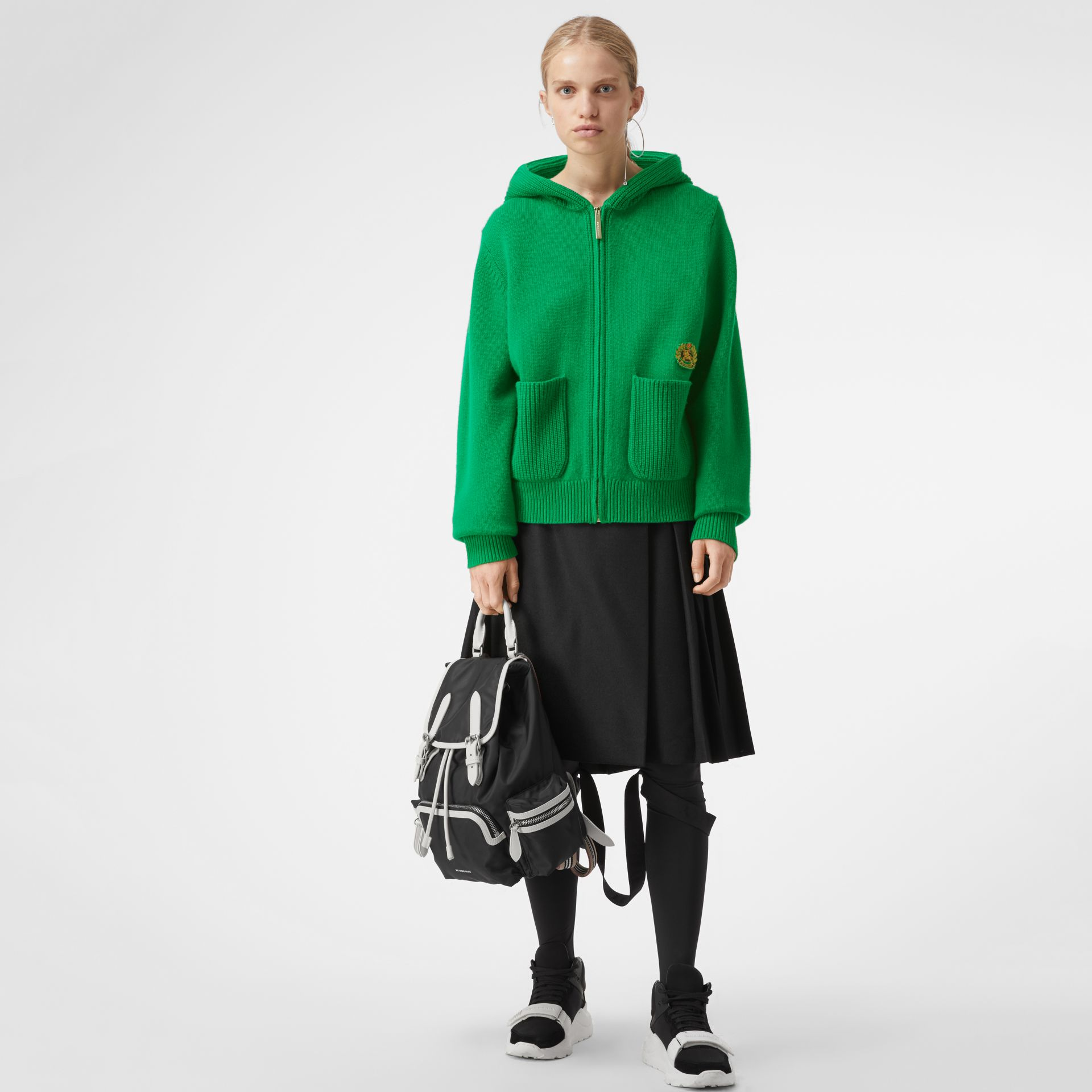 Embroidered Crest Cashmere Hooded Top in Vibrant Green - Women | Burberry Australia - gallery image 0