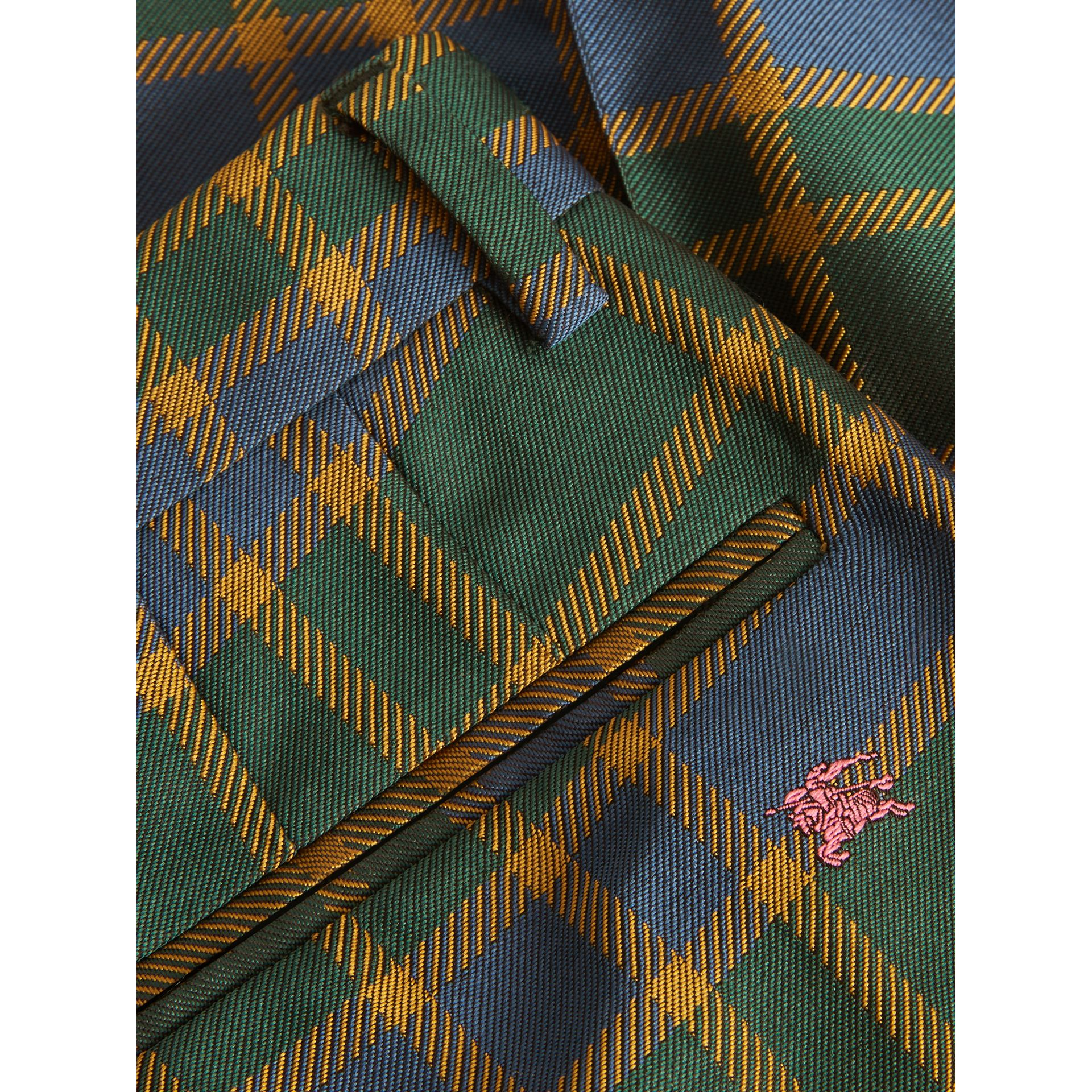 Jacquard Check and Equestrian Knight Tuxedo Trousers in Dark Navy/green | Burberry - gallery image 1