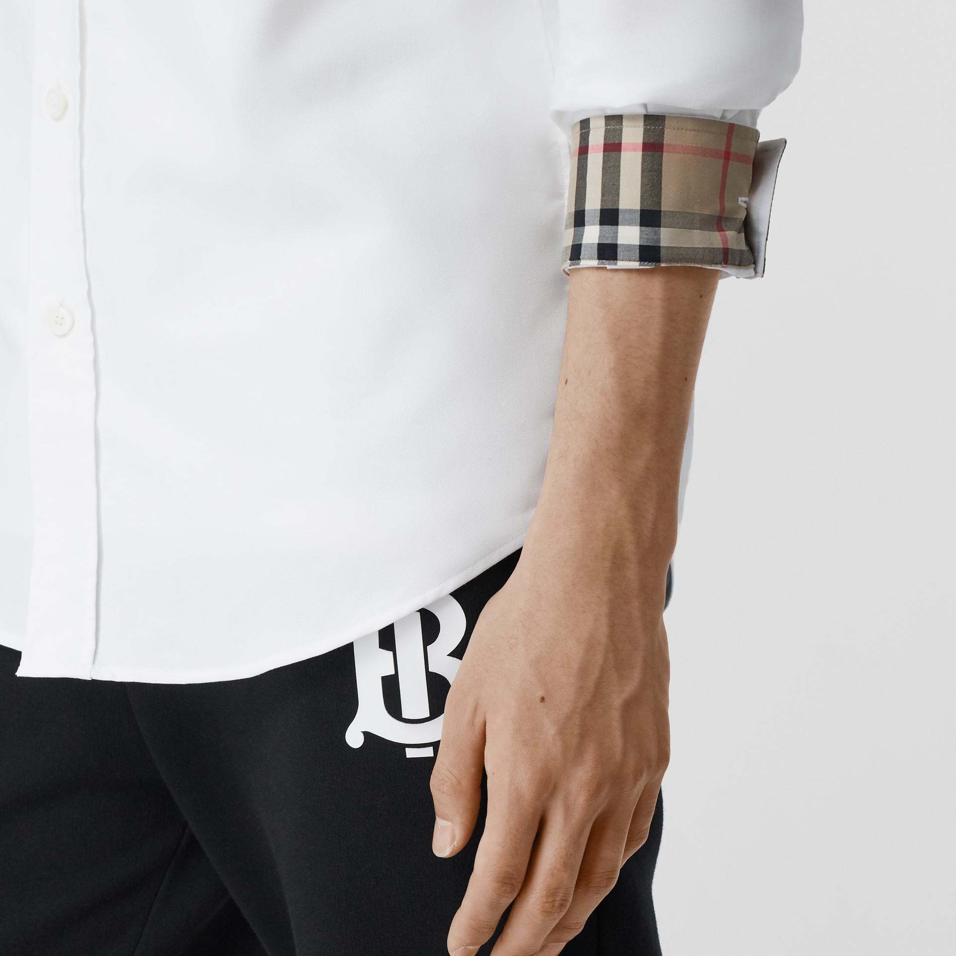 Monogram Motif Cotton Oxford Shirt in White - Men | Burberry Hong Kong S.A.R - gallery image 4