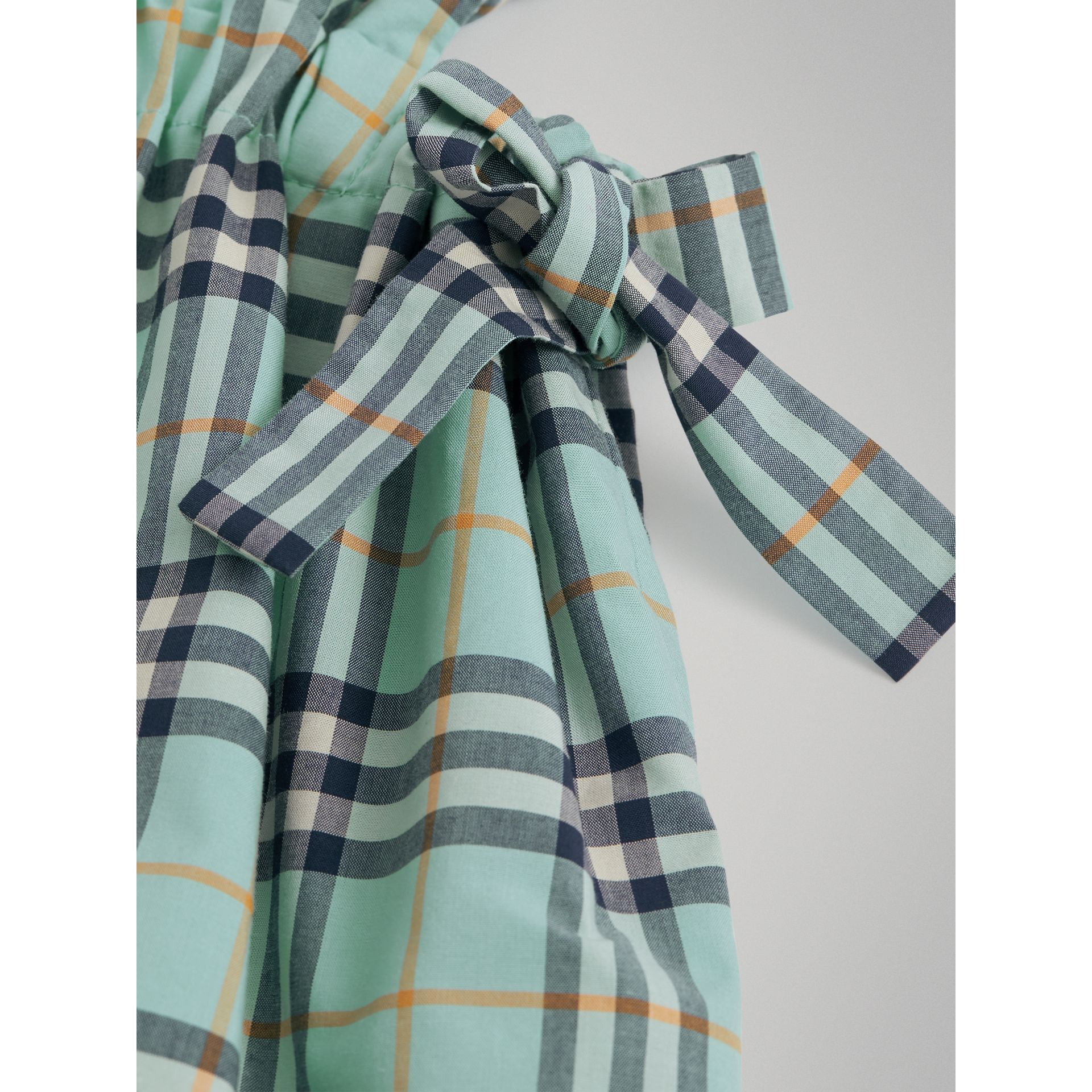 Tie Detail Check Cotton Dress in Bright Aqua | Burberry - gallery image 4