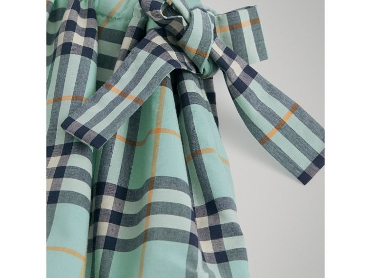 Tie Detail Check Cotton Dress in Bright Aqua - Girl | Burberry - cell image 4