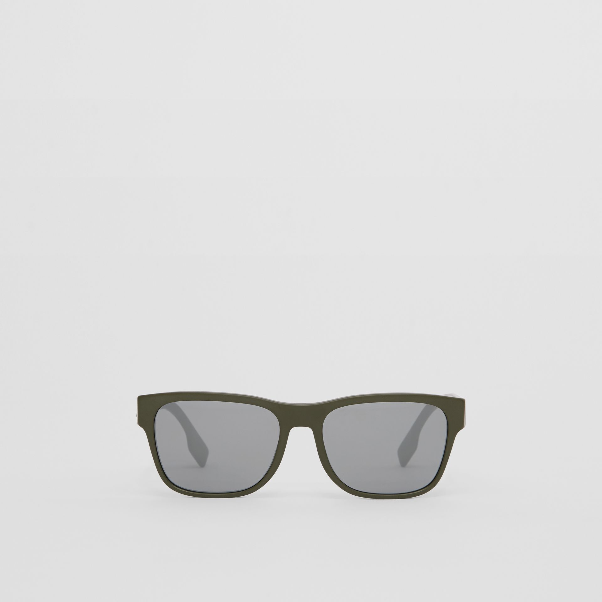 Logo Appliqué Square Frame Sunglasses in Military Green - Men | Burberry Australia - gallery image 0