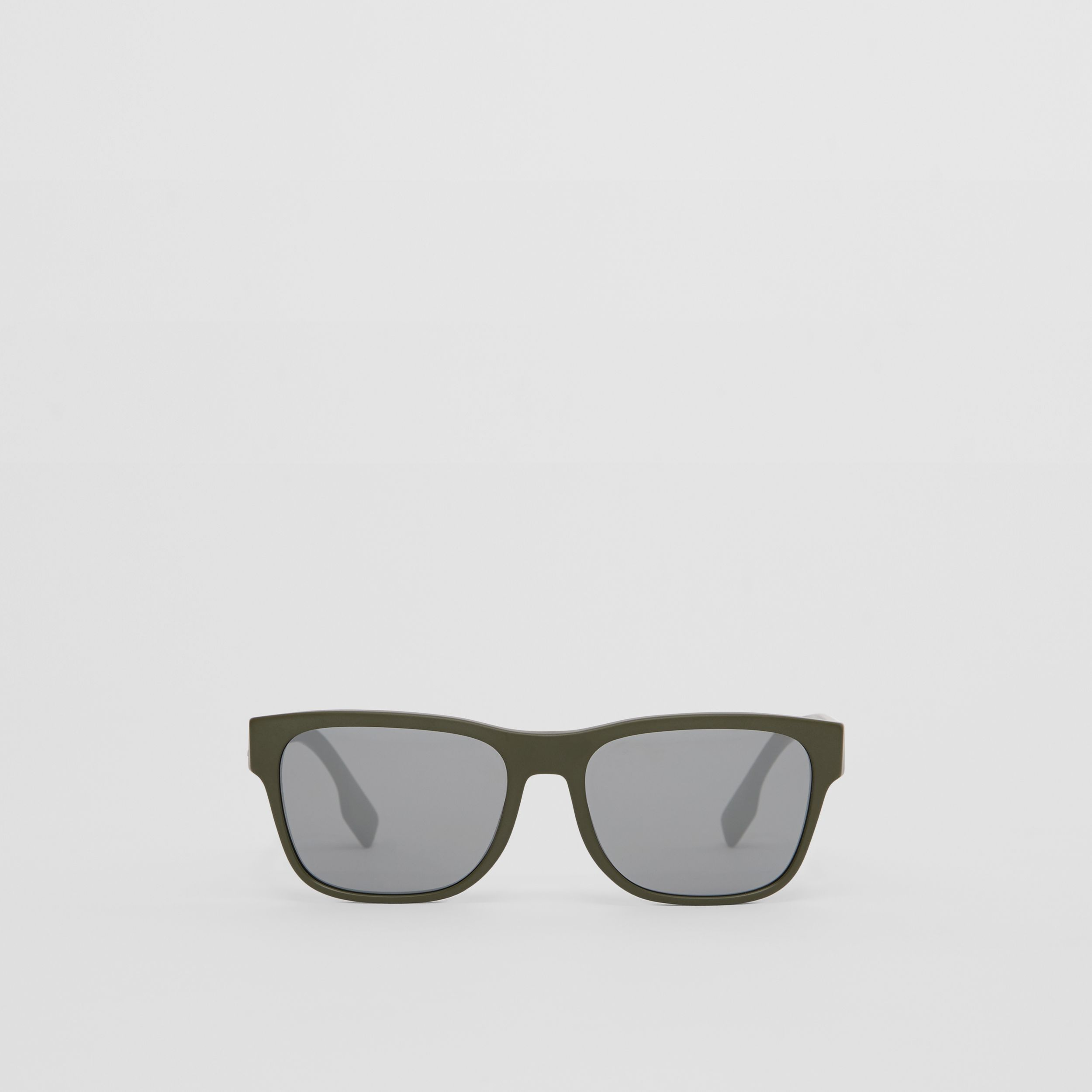 Logo Appliqué Square Frame Sunglasses in Military Green - Men | Burberry United States - 1