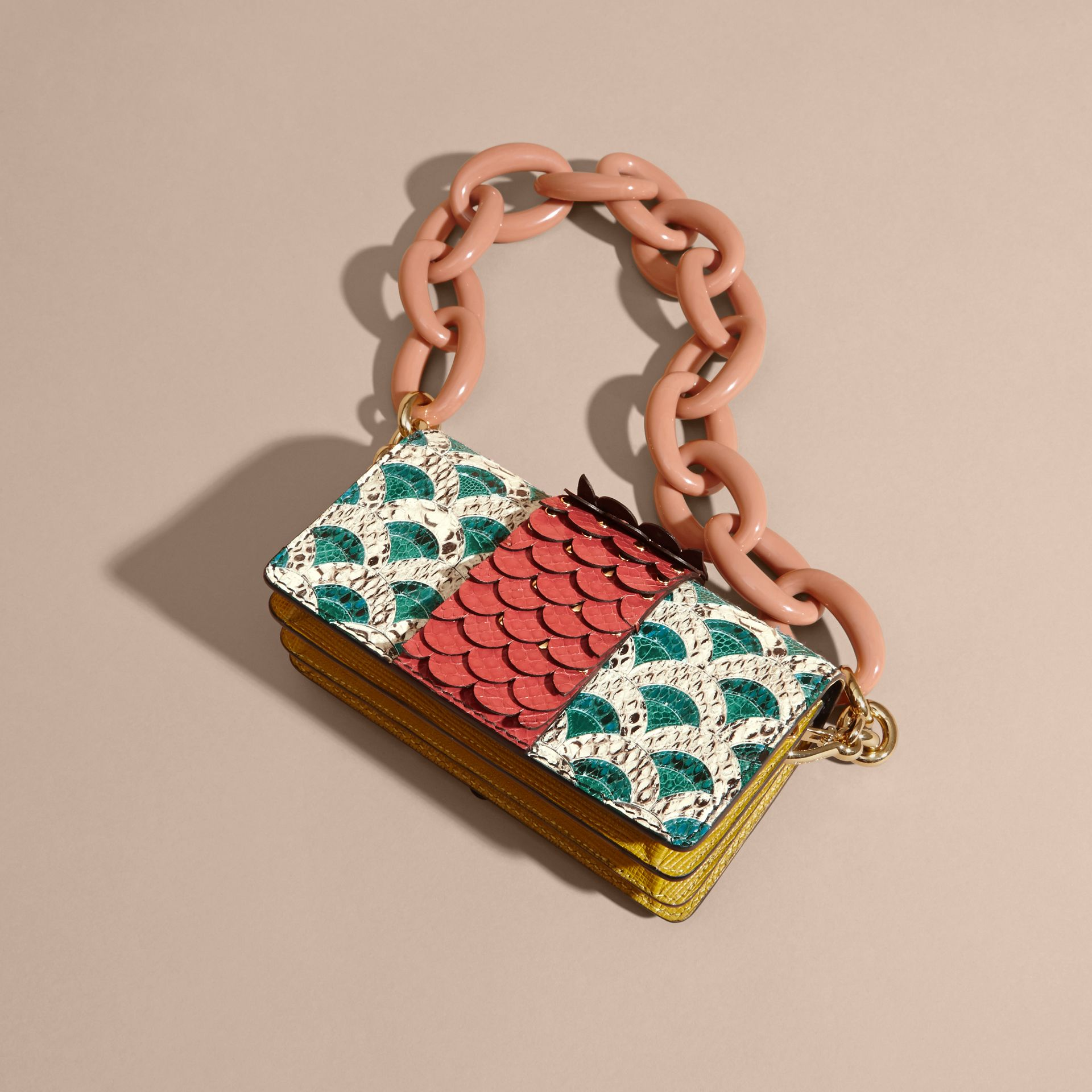 The Small Buckle Bag in Scallop Trim Snakeskin and Ostrich - gallery image 5