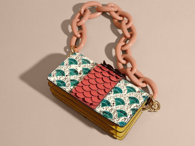 The Small Buckle Bag in Scallop Trim Snakeskin and Ostrich - cell image 4