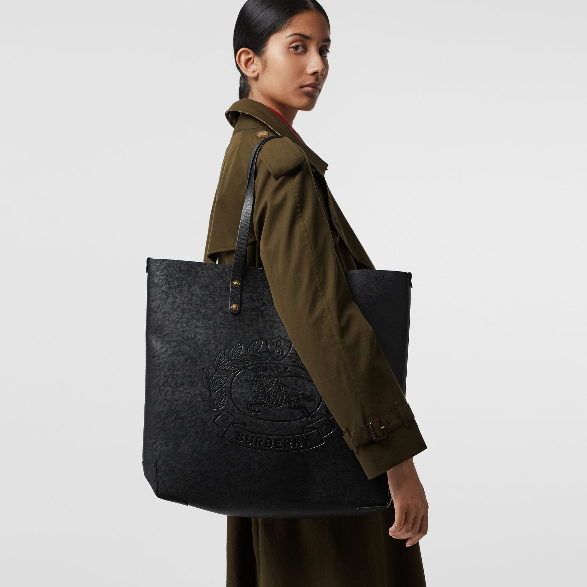 Embossed Crest Leather Tote in Black | Burberry - gallery image 3