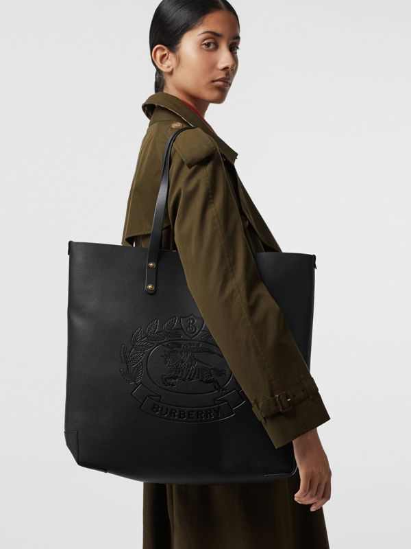 Embossed Crest Leather Tote in Black | Burberry - cell image 3