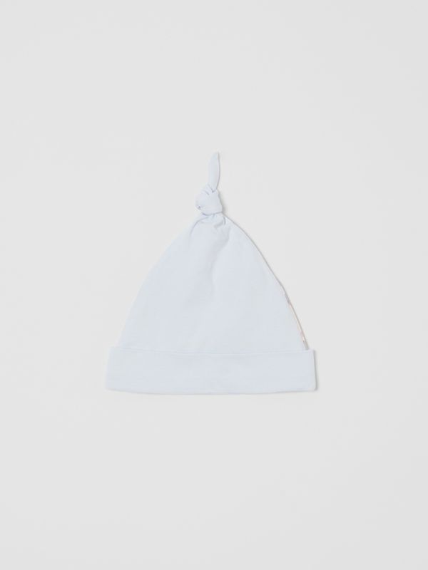 Check Trim Stretch Cotton Three-piece Baby Gift Set in Pale Blue - Children | Burberry Singapore - cell image 2
