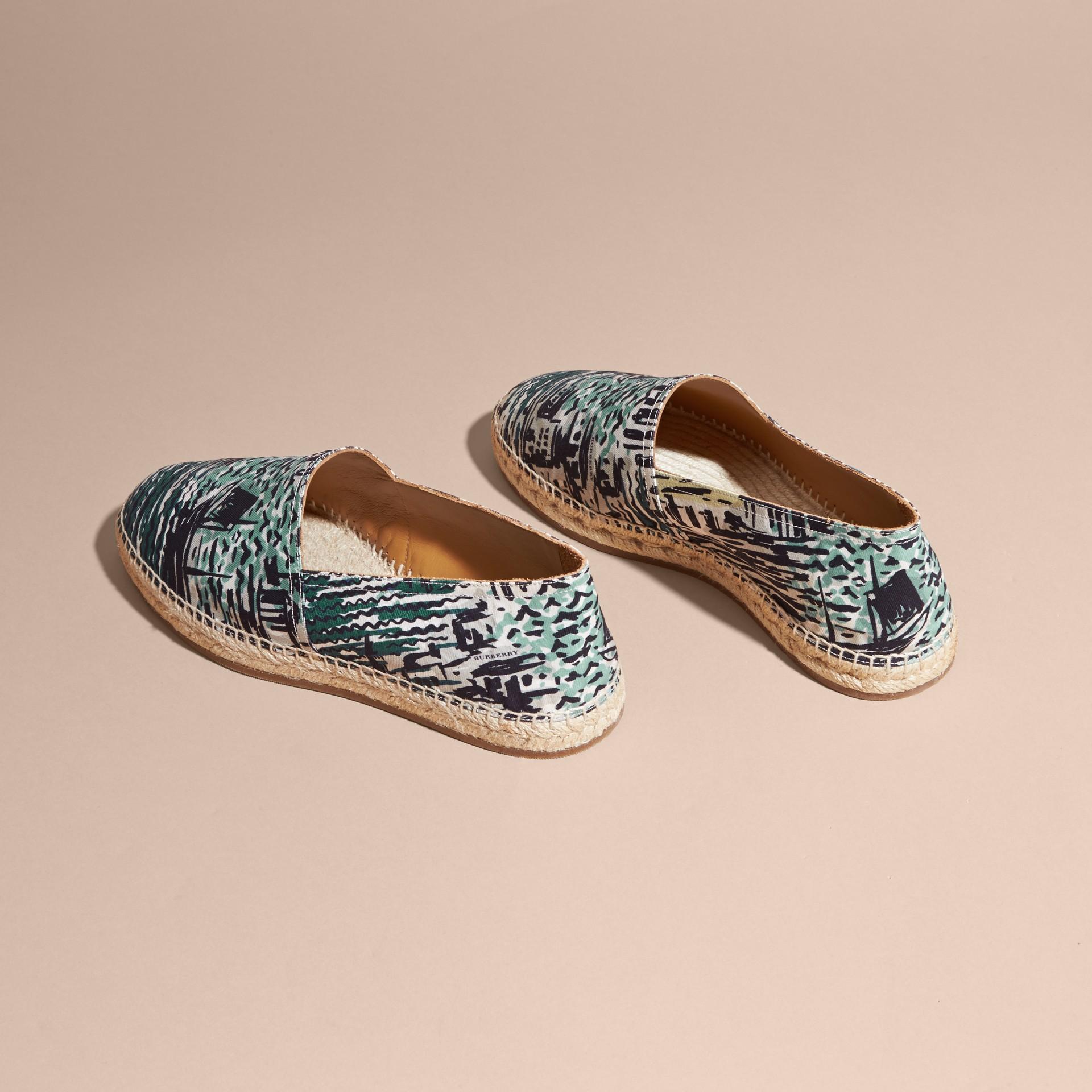 British Seaside Print Cotton Espadrilles Aqua Green - gallery image 5