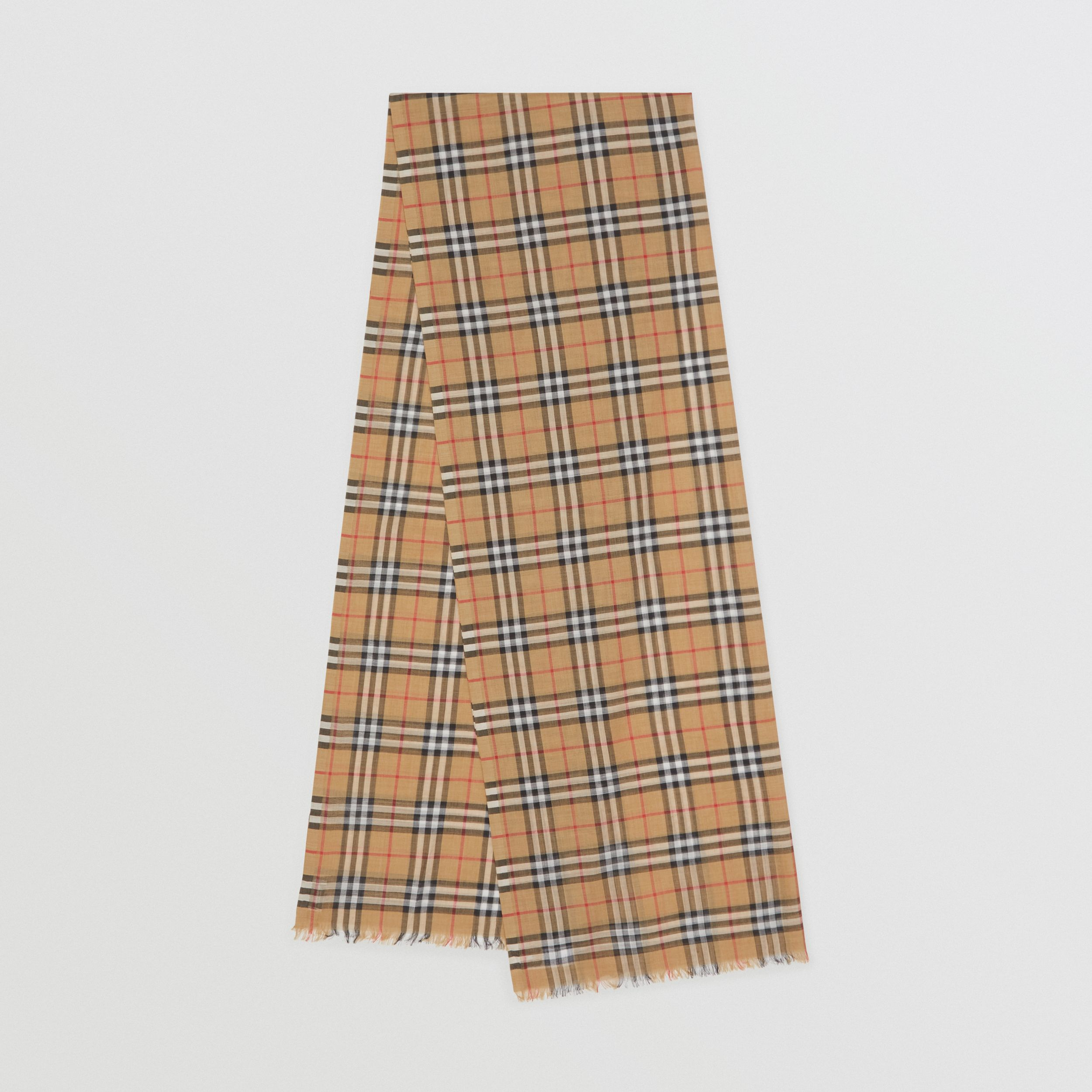 Vintage Check Lightweight Wool Silk Scarf in Antique Yellow | Burberry Hong Kong S.A.R - 1