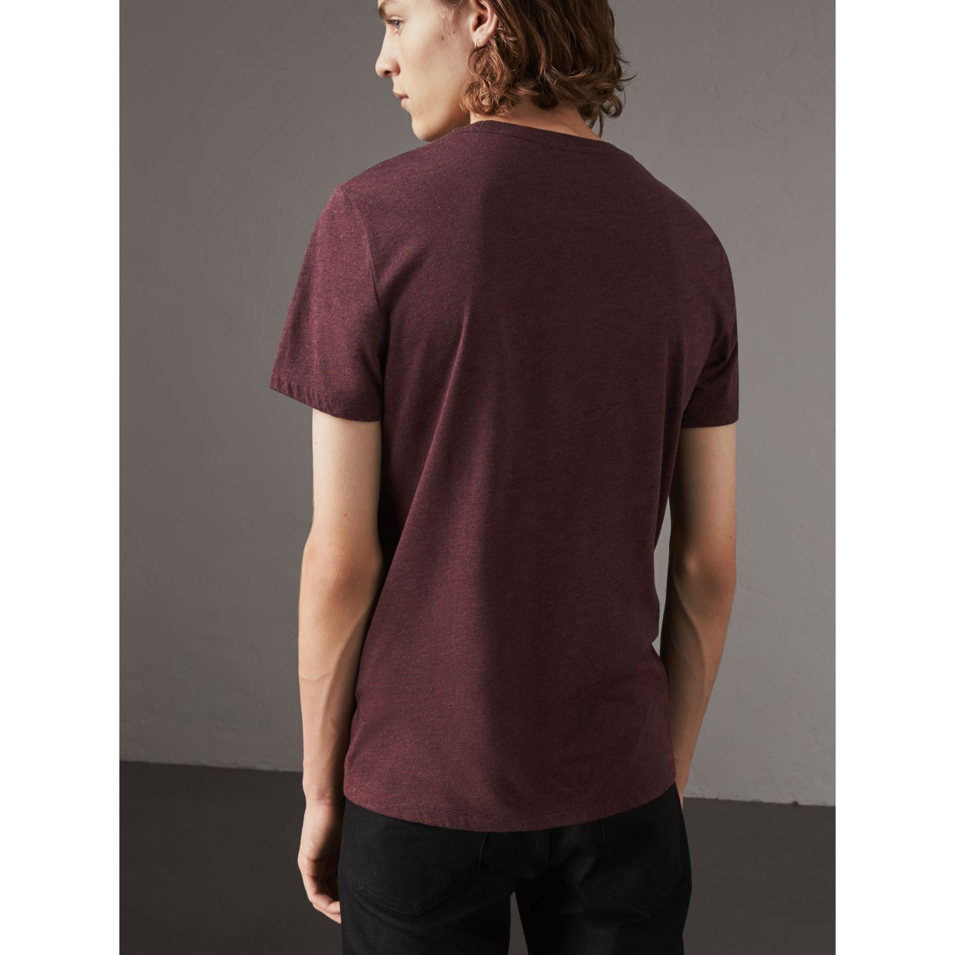 Devoré Cotton Jersey T-shirt in Deep Claret Melange - Men | Burberry - gallery image 2