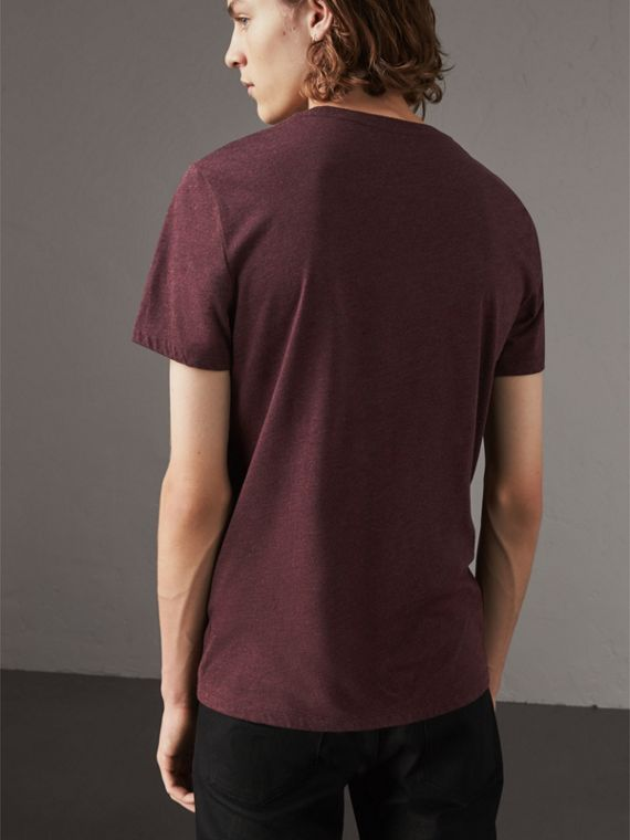 Devoré Cotton Jersey T-shirt in Deep Claret Melange - Men | Burberry - cell image 2