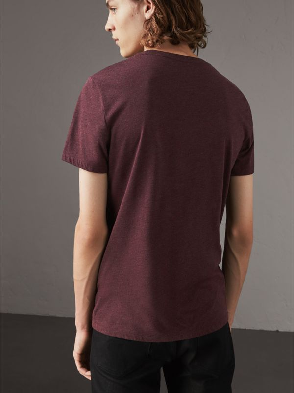 Devoré Cotton Jersey T-shirt in Deep Claret Melange - Men | Burberry United Kingdom - cell image 2