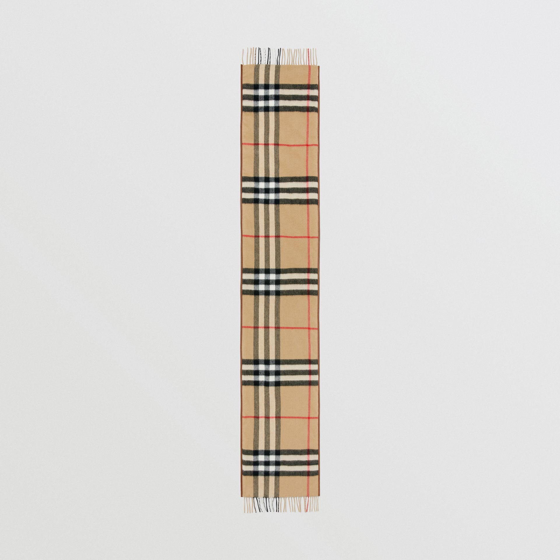 Lambskin Trim Vintage Check Cashmere Scarf in Dark Camel | Burberry - gallery image 3