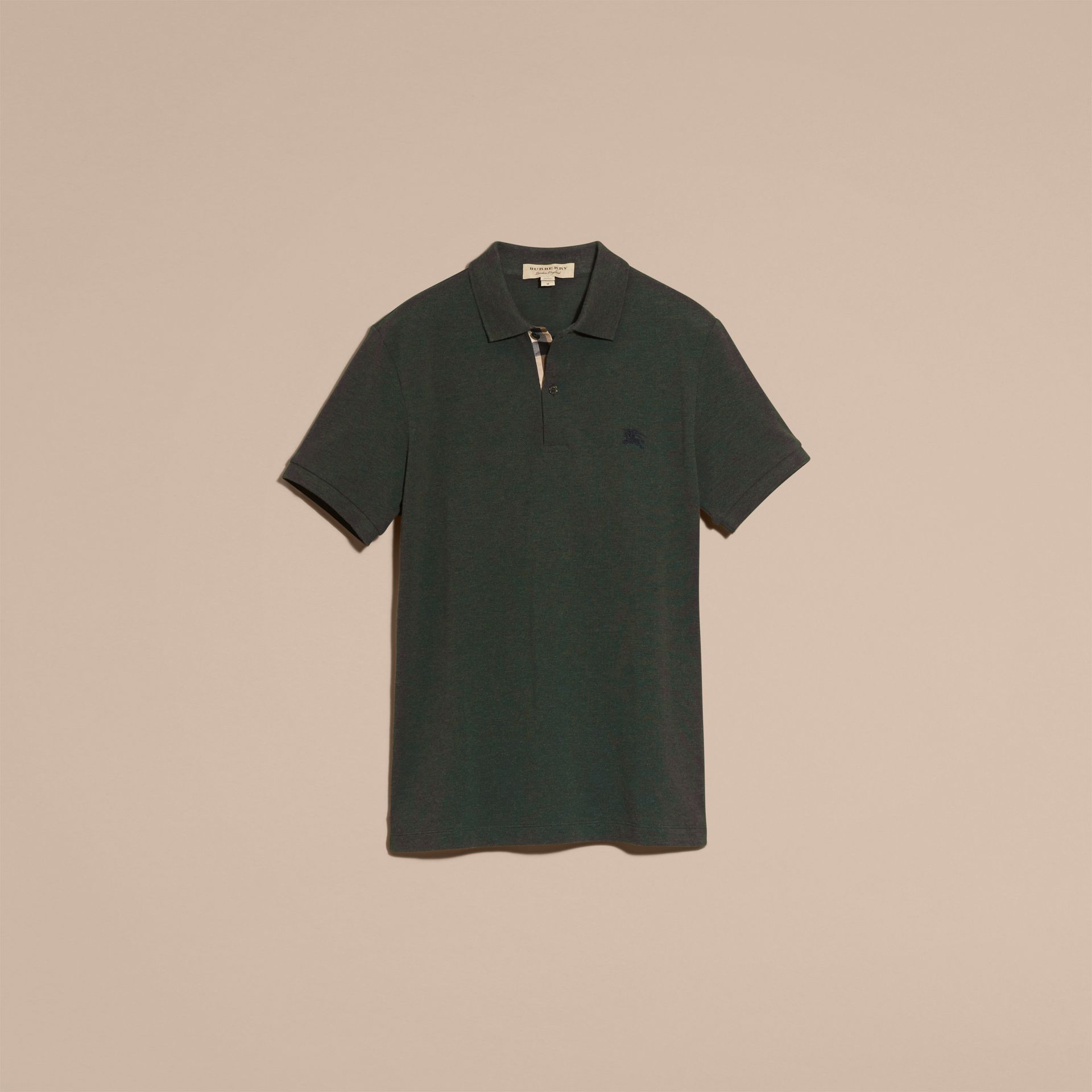 Racing green melange Check Placket Cotton Piqué Polo Shirt Racing Green Melange - gallery image 4