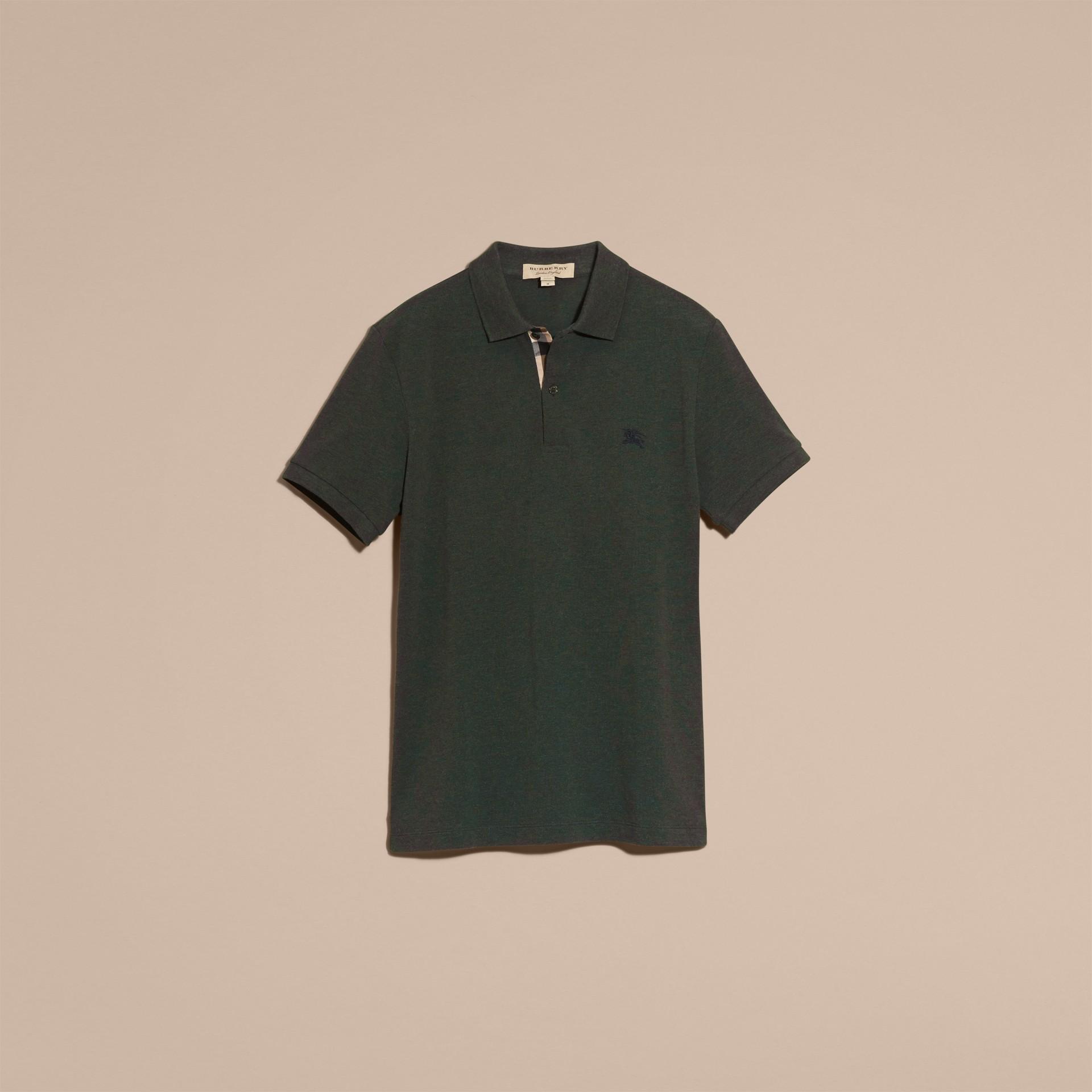 Camaïeu de verts racing Polo en piqué de coton avec patte à motif check Camaïeu  Verts Racing - photo de la galerie 4