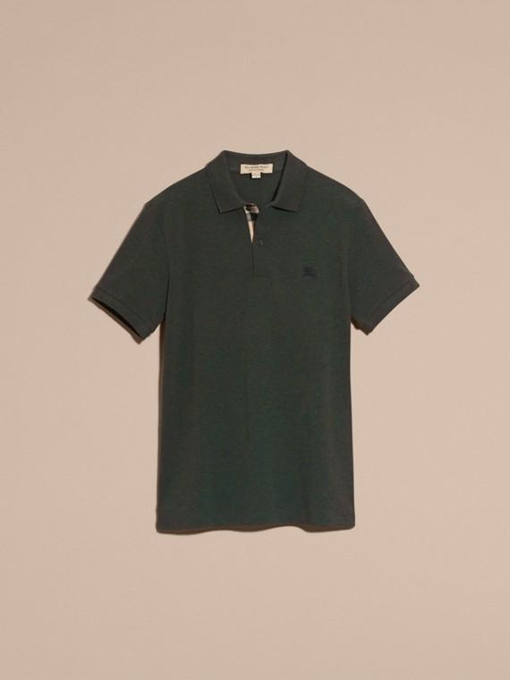 Camaïeu de verts racing Polo en piqué de coton avec patte à motif check Camaïeu  Verts Racing - cell image 3
