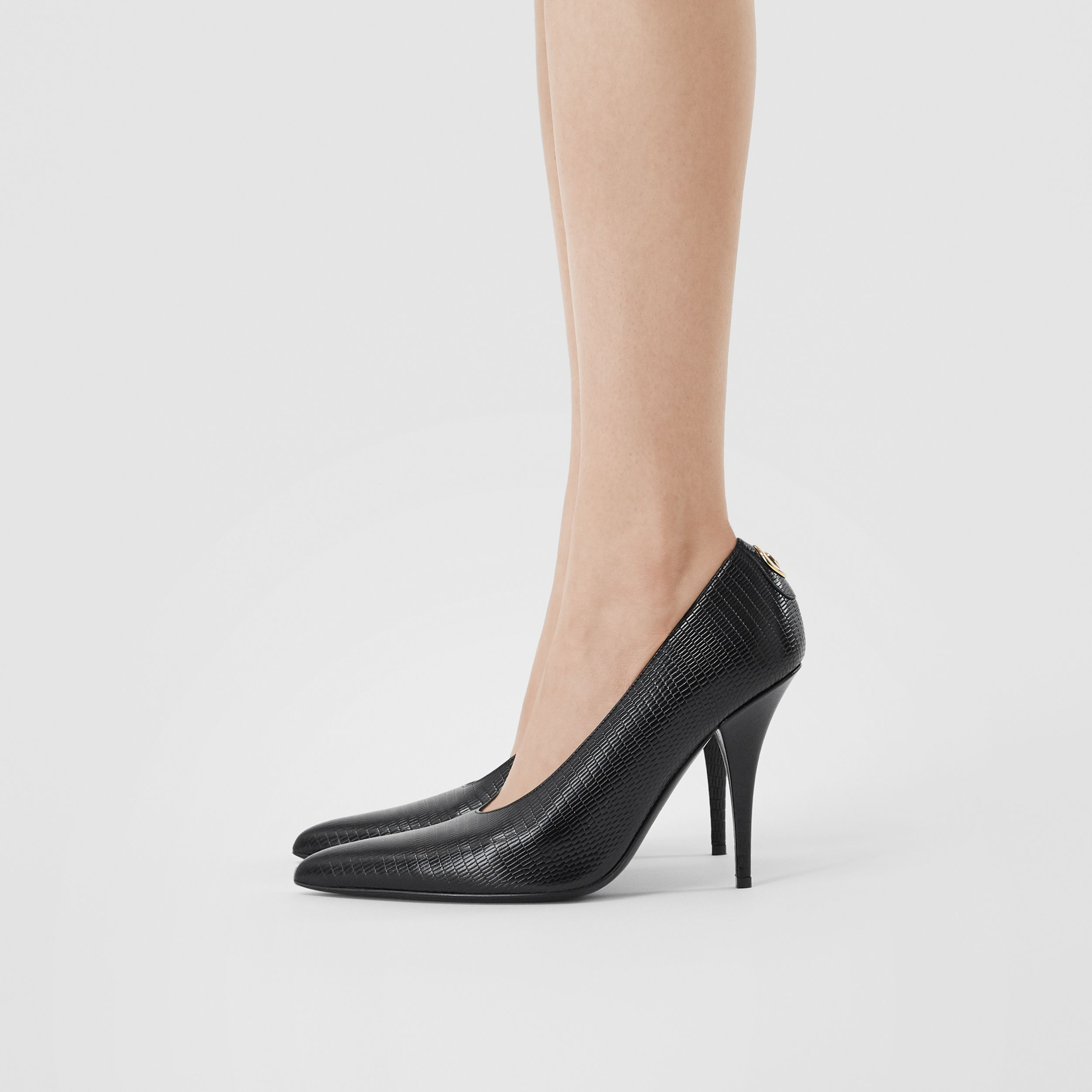 Stud Detail Embossed Leather Point-toe Pumps in Black - Women | Burberry United States - 3