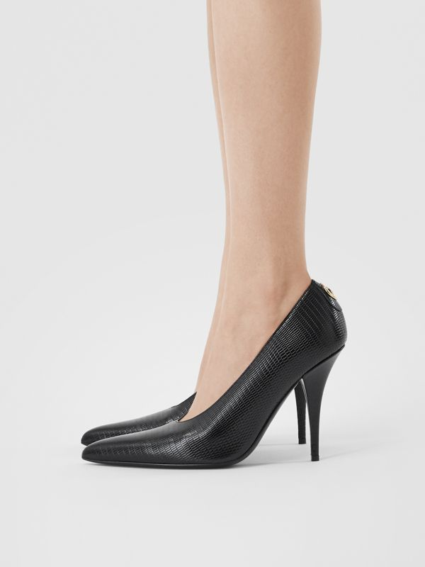 Stud Detail Embossed Leather Point-toe Pumps in Black - Women | Burberry - cell image 2