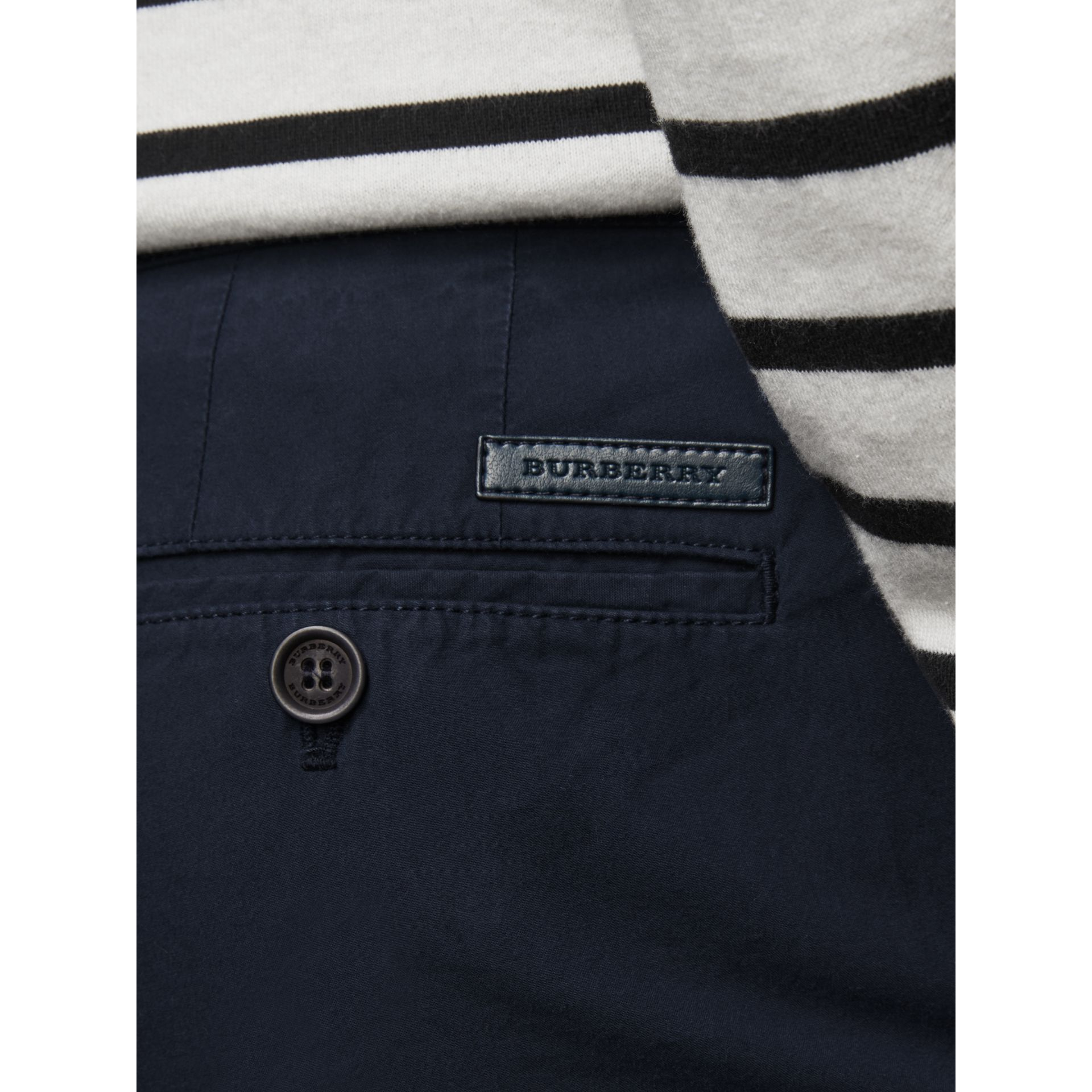 Cotton Poplin Chino Shorts in Indigo - Men | Burberry - gallery image 2