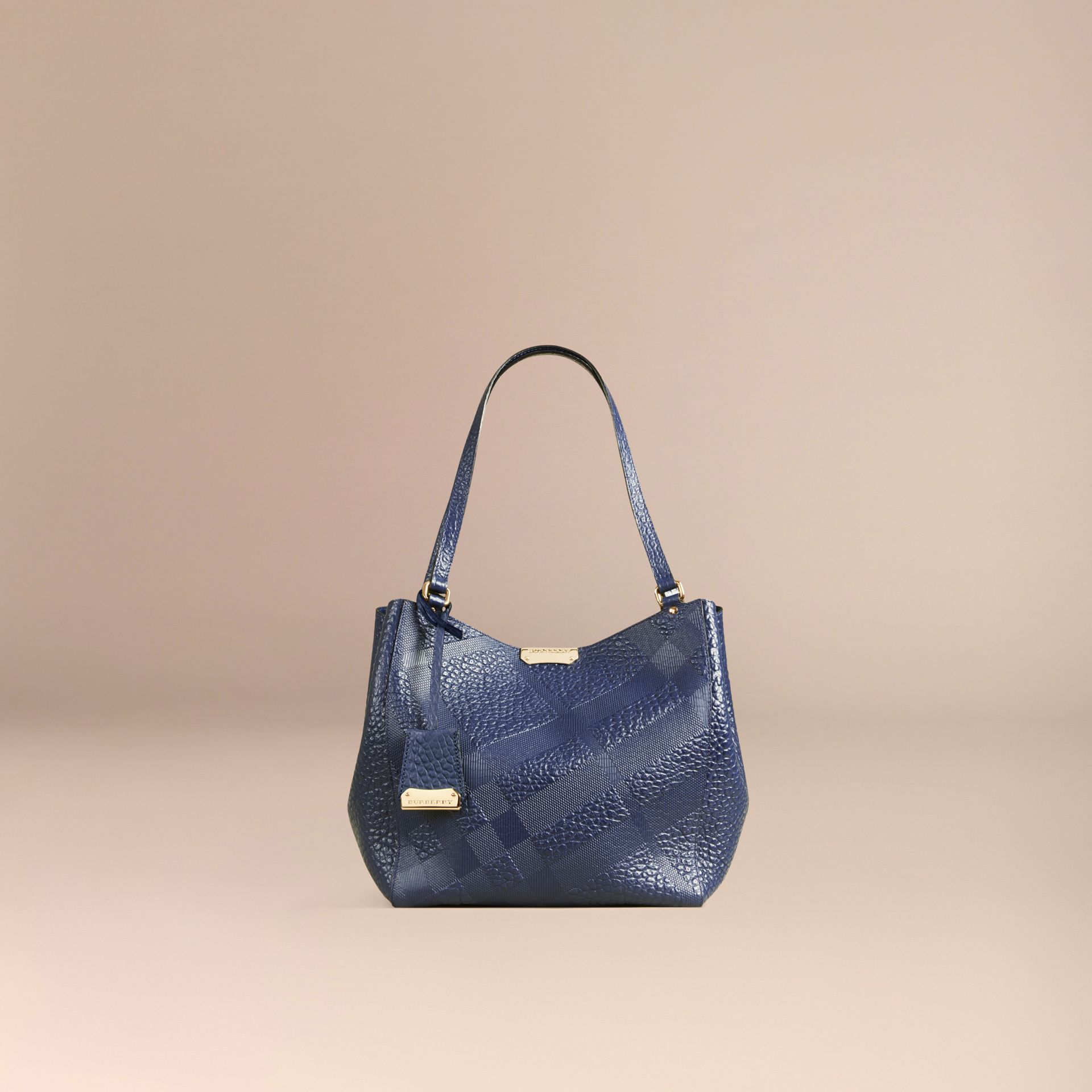 Blue carbon The Small Canter in Check Embossed Leather Blue Carbon - gallery image 8