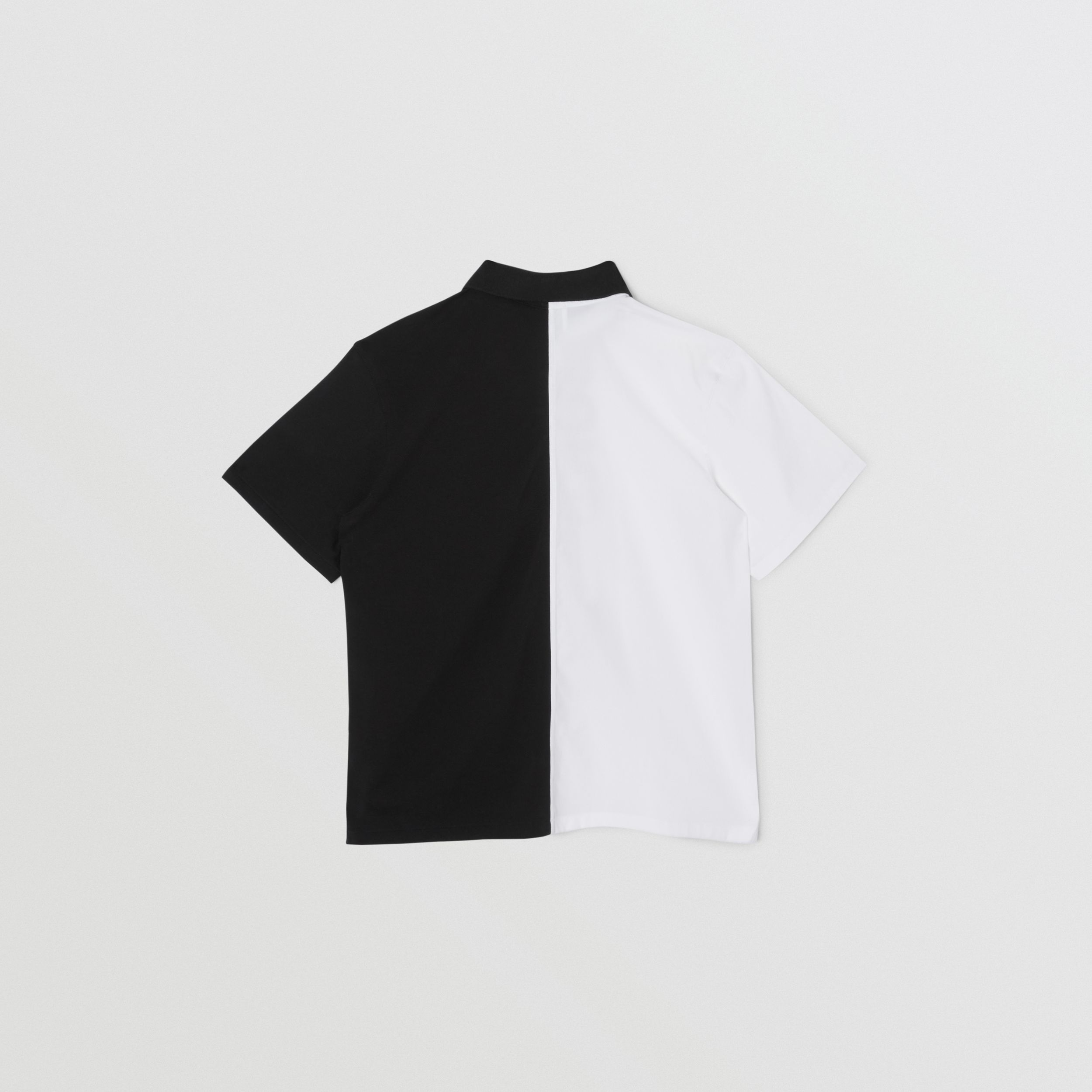 Short-sleeve Logo Print Two-tone Cotton Shirt in White | Burberry - 4