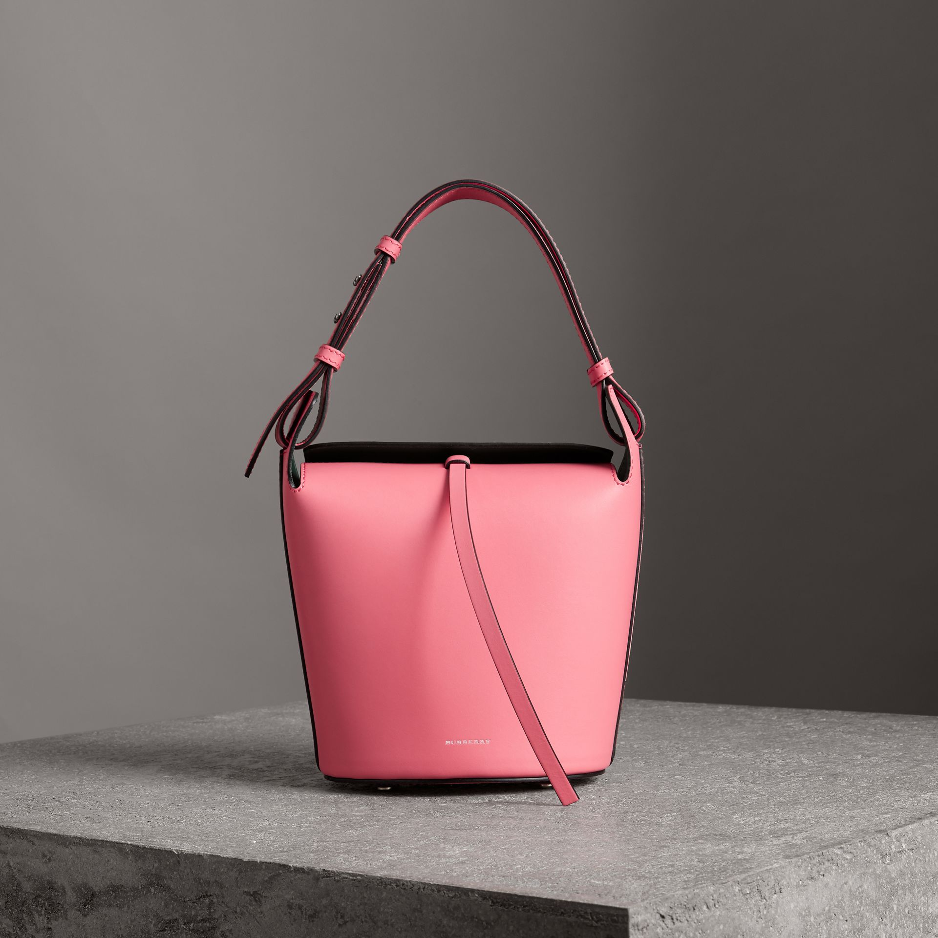 The Small Leather Bucket Bag in Bright Coral Pink - Women | Burberry Singapore - gallery image 0