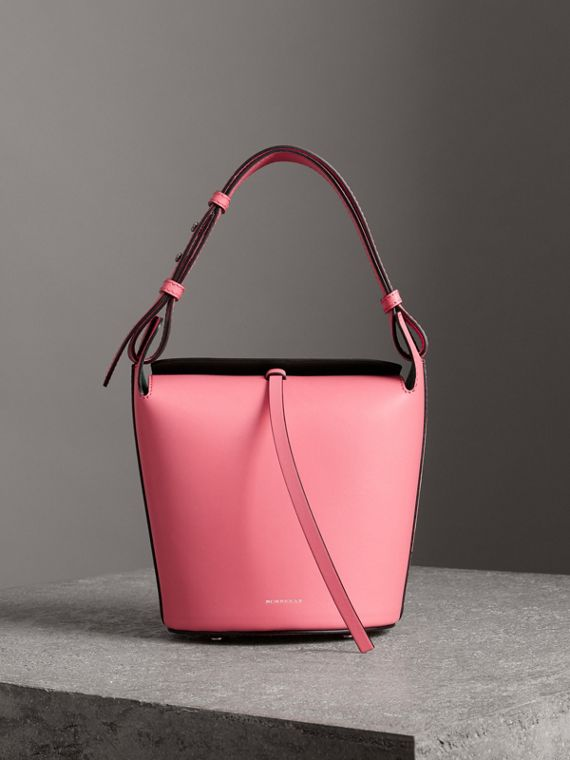 The Small Leather Bucket Bag in Bright Coral Pink