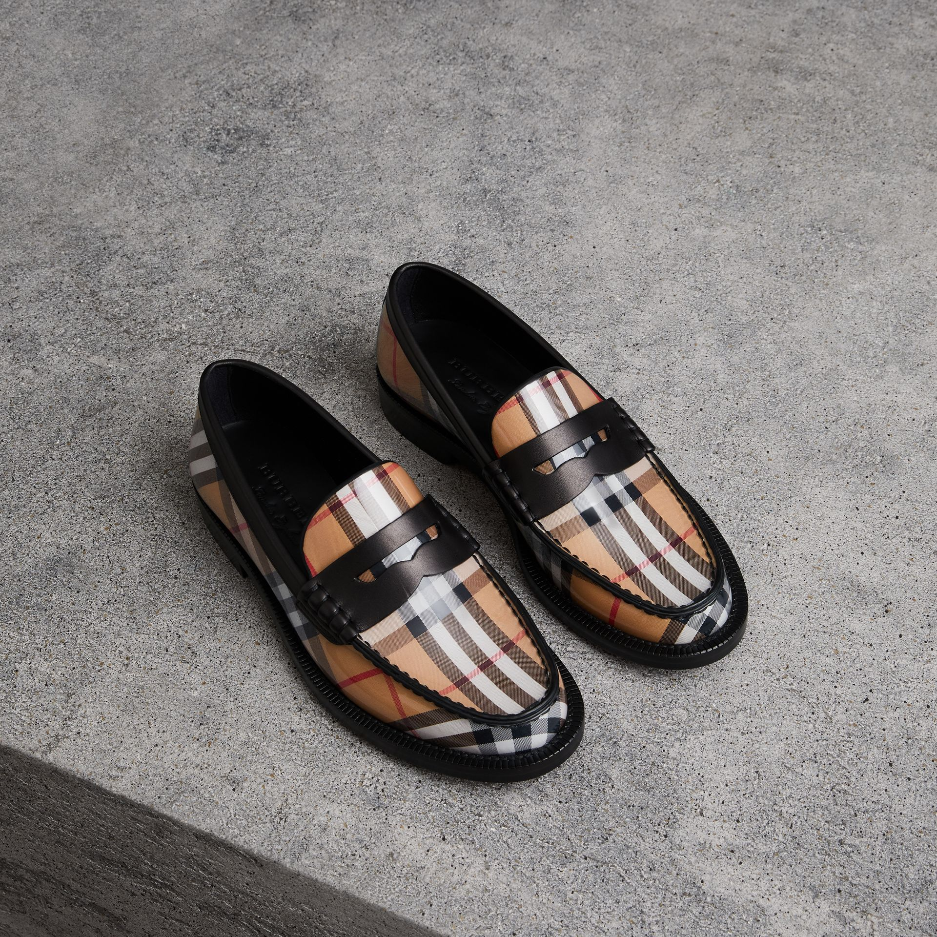 Vintage Check and Leather Penny Loafers in Antique Yellow - Women | Burberry Canada - gallery image 0
