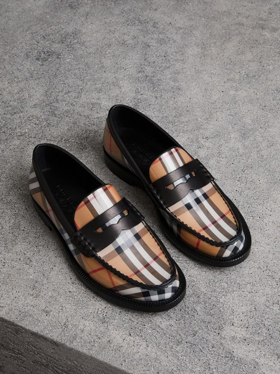 Mocassins Penny Loafers en cuir et à motif Vintage check (Jaune Antique)