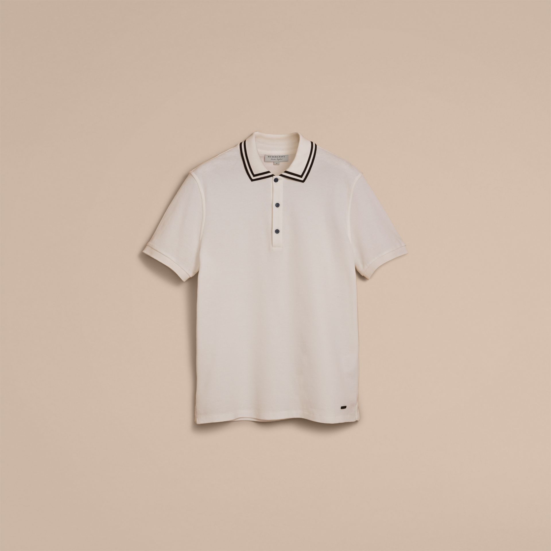 Striped Collar Cotton Piqué Polo Shirt in White - Men | Burberry - gallery image 4