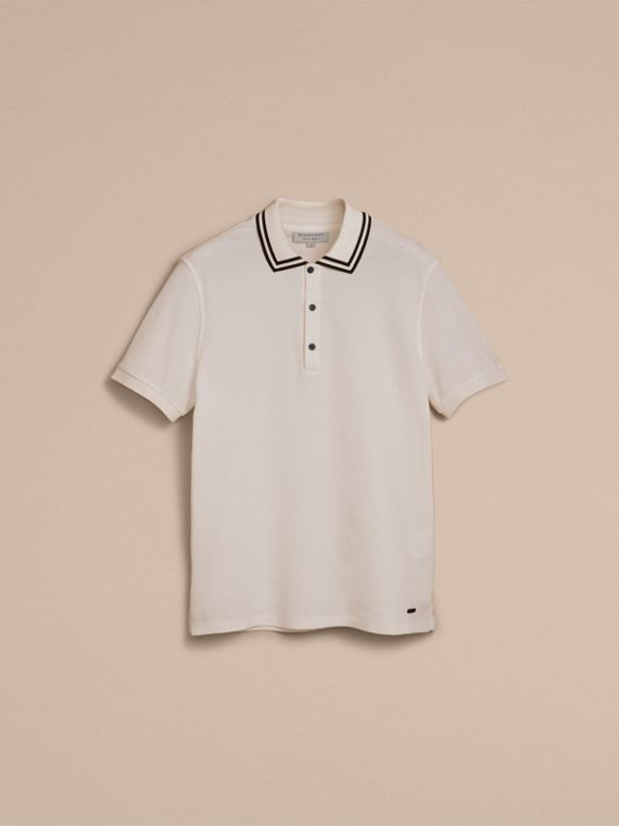 Striped Collar Cotton Piqué Polo Shirt in White - Men | Burberry - cell image 3