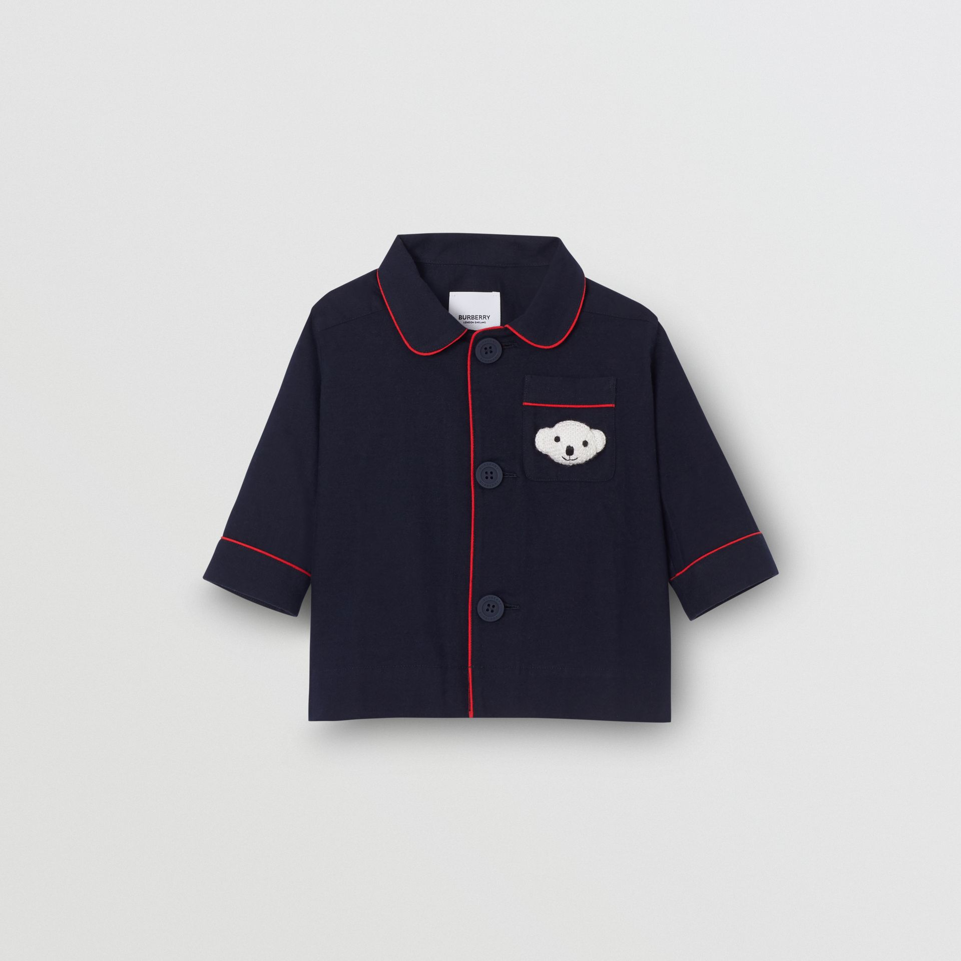 Thomas Bear Detail Cotton Flannel Pyjama Shirt in Navy - Children | Burberry - gallery image 0
