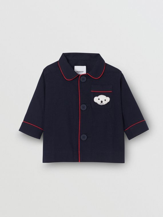 Thomas Bear Detail Cotton Flannel Pyjama Shirt in Navy