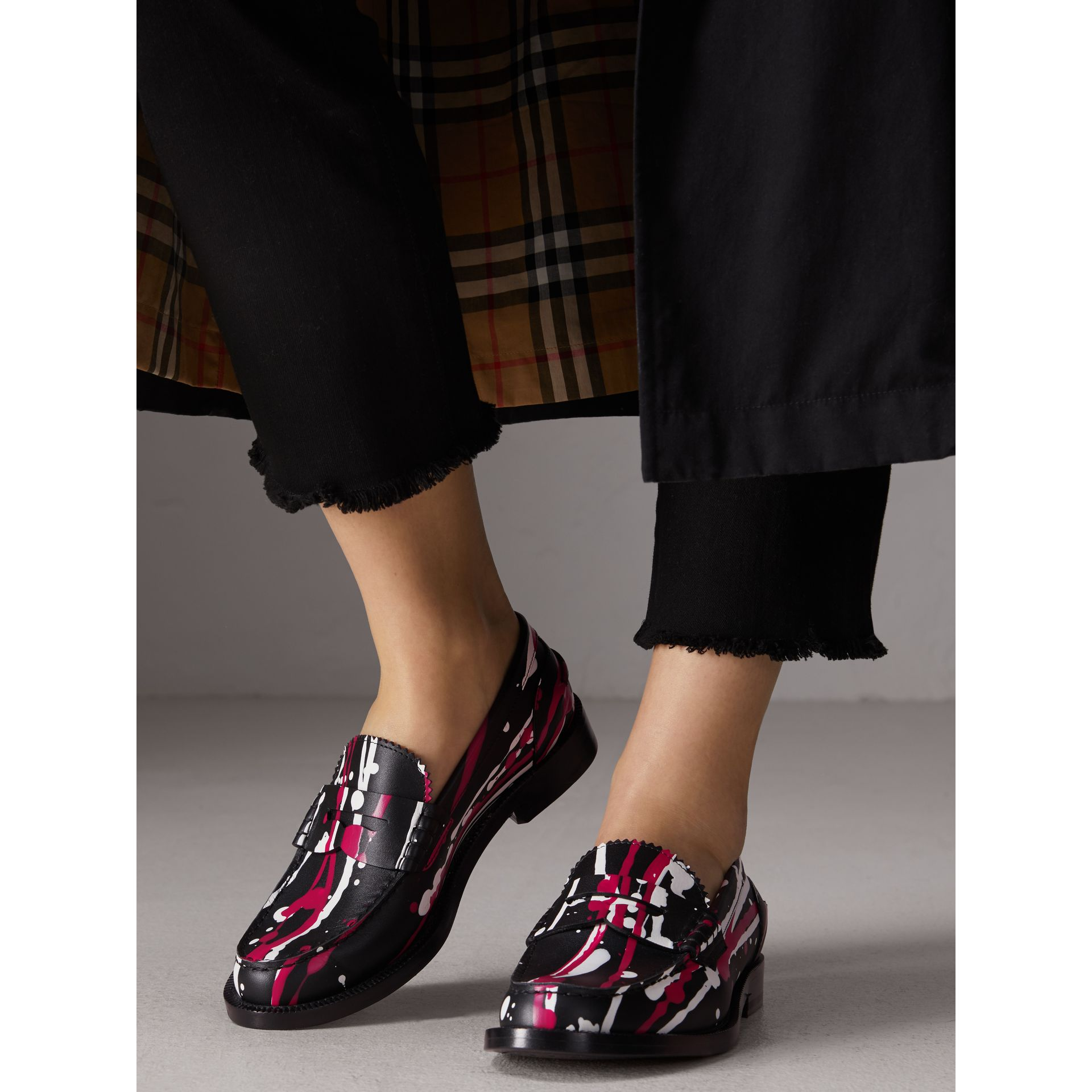 Splash Print Leather Penny Loafers in Fuchsia - Women | Burberry - gallery image 2