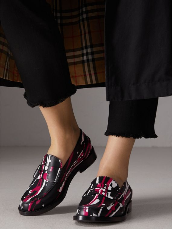 Splash Print Leather Penny Loafers in Fuchsia - Women | Burberry - cell image 2
