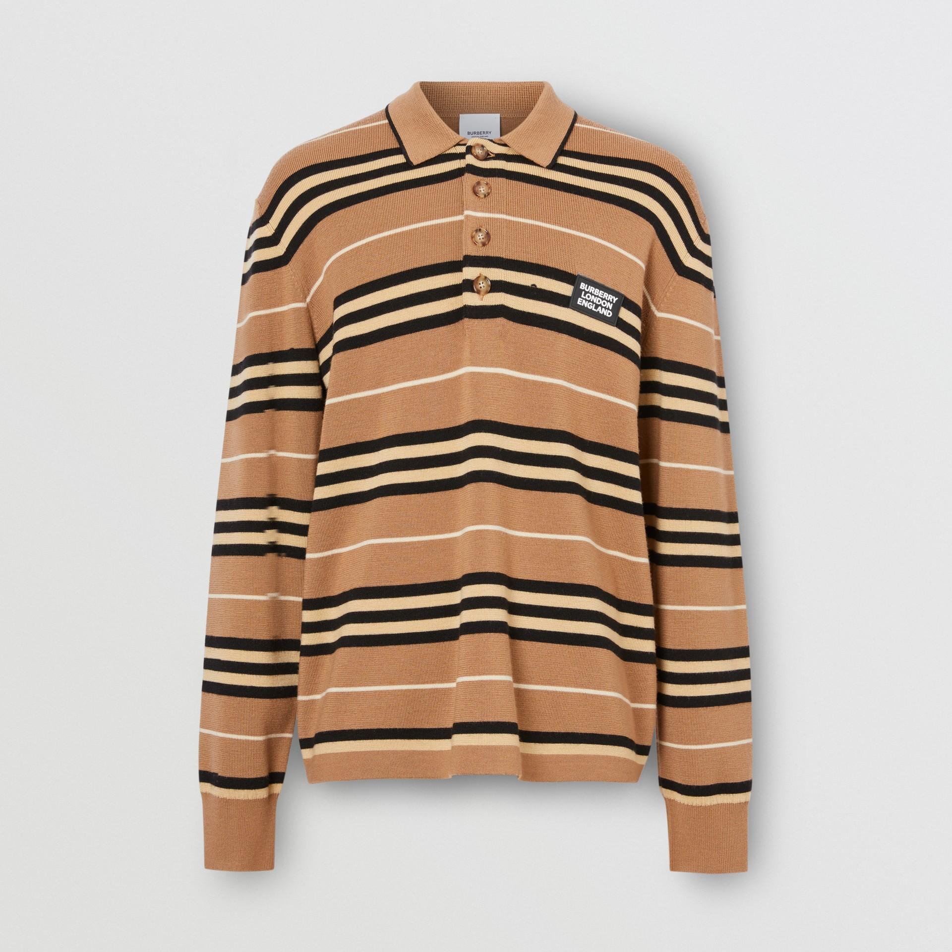 Long-sleeve Icon Stripe Merino Wool Polo Shirt in Warm Walnut - Men | Burberry United Kingdom - gallery image 3